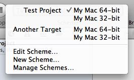 Xcode 4 scheme menu
