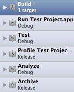 Xcode 4 edit scheme sidebar