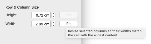 Cursor hovered over 'Fit' button in Numbers, displaying tooltip that says 'Resize selected columns so their widths match the cell with the widest content'