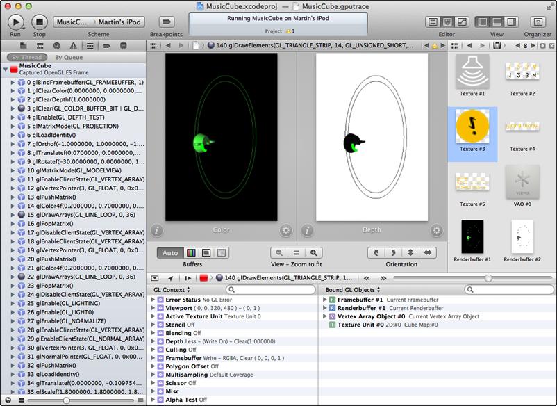 Xcode's OpenGL ES debugger