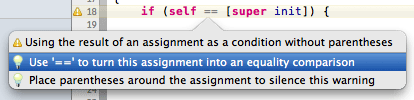 an Xcode 4 fix it for ambiguity between assignment and equality