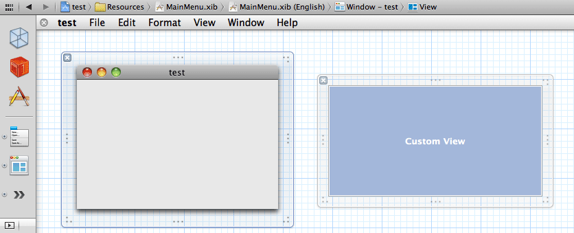 Interface Builder canvast showing a window and a view